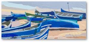 acryl on Recycled dacron sail size 200 cm x 90 cm